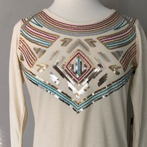 Rock & Roll Scoop Neck Aztec Embroidery